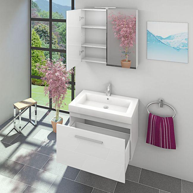 Waschtisch mit Waschbecken, Unterschrank City 100 80cm Hochglanz Weiss – Bild 7