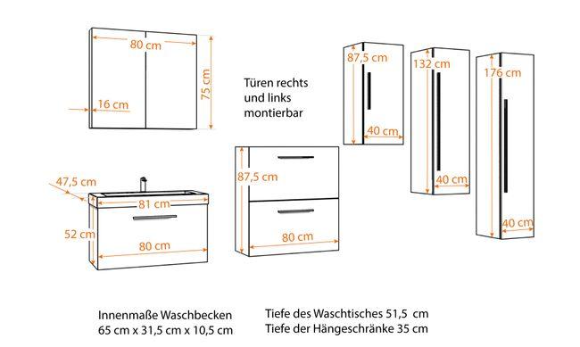 Waschtisch mit Waschbecken, Unterschrank City 100 80cm Hochglanz Weiss – Bild 8