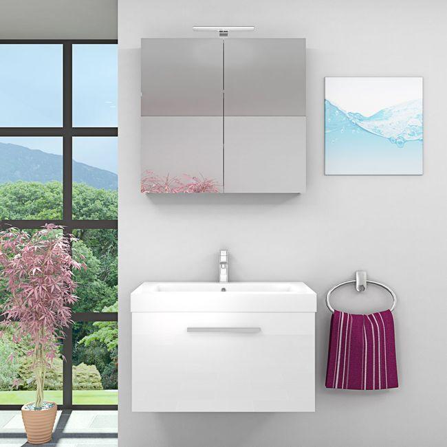 Badmöbel Set City 100 V1 Hochglanz WS Badezimmermöbel Waschtisch 80cm – Bild 1