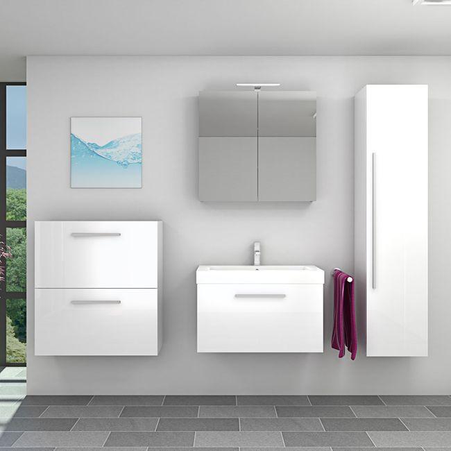 Badmöbel Set City 100 V5 Hochglanz WS Badezimmermöbel Waschtisch 80cm – Bild 1