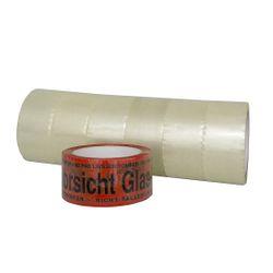 """(0,02€/m) 6 Rollen Klebeband 50m Packband Paketband + 1 Rolle """"Vorsicht Glas"""" 001"""
