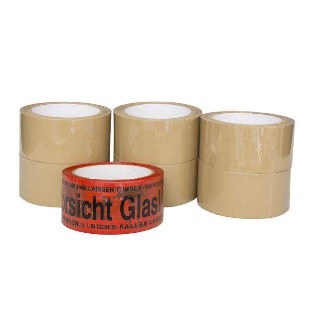 """(0,02€/m) 6 Rollen Klebeband 50m Packband Paketband + 1 Rolle """"Vorsicht Glas"""" – Bild 3"""