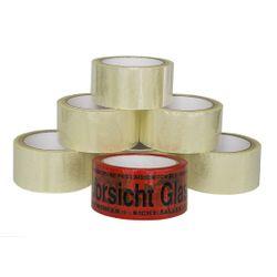 """(0,02€/m) 6 Rollen Klebeband 66m Packband Paketband + 1 Rolle """"Vorsicht Glas"""" 001"""