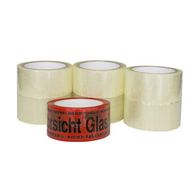 """(0,02€/m) 6 Rollen Klebeband 50m Klebeband Paketband + 1 Rolle """"Vorsicht Glas"""" – Bild 2"""