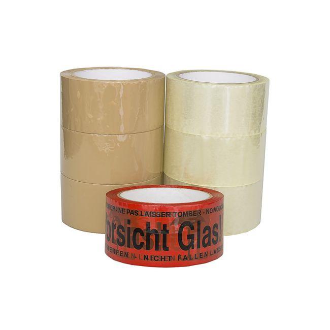 """(0,02€/m) 6 Rollen Klebeband 50m Paketband 3x klar 3x braun + 1x """"Vorsicht Glas"""" – Bild 2"""