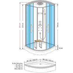 AcquaVapore QUICK18 SW Duschtempel Dusche Fertigdusche 80x80 90x90 100x100 Bild 6