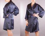 Morgenmantel Damen Negligee Kimono Dessous Nachtwäsche Satinmantel viele Farben Bild 4