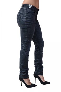 COCCARA Damen Jeans Hose CURLY CW948 black dirty schwarz Blumen-Muster Slim Fit – Bild 3