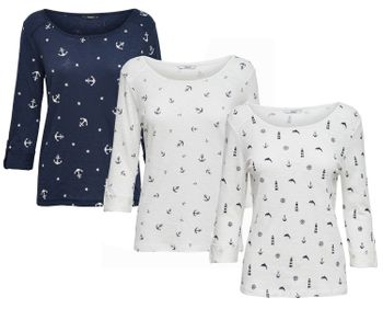 ONLY Damen Pullover Shirt onlJESS 3/4 ANCHOR MIX TOP Anker Leuchtturm