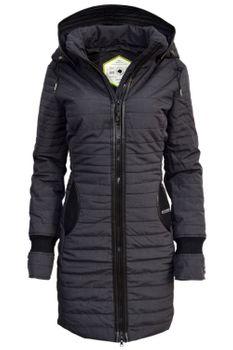KHUJO Damen Wintermantel Stepp-Mantel DAILY schwarz & weinrot – Bild 5