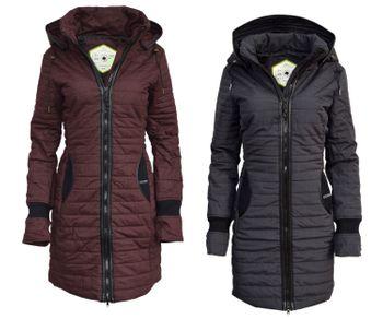 KHUJO Damen Wintermantel Stepp-Mantel DAILY schwarz & weinrot 001