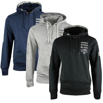 CROSSHATCH Herren Sweatshirt Pullover LEVENHAM ZIP NECK HOODY Hoodie Kapuze – Bild 1
