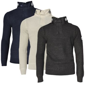 CROSSHATCH Herren Strick Pullover Troyer GARFORTH CH HEAVY KNIT HI NECK 001