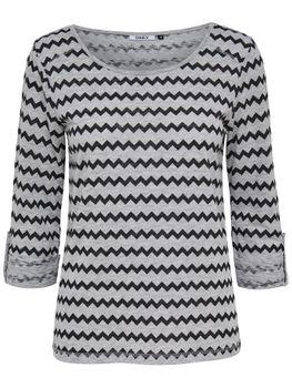 ONLY Damen Pullover Shirt onlJESS 3/4 ZIG ZAG DOTS TOP Zigzag  grau schwarz