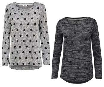 ONLY Damen Shirt Pullover onlLOTUS L/S DOT TOP Strick Punkte vokuhila