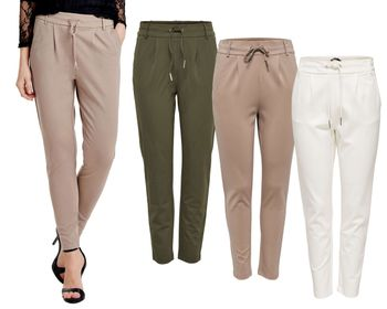 ONLY Damen Chino Stoff Hose onlPOPTRASH EASY COLOUR PANT NOOS beige grün weiß