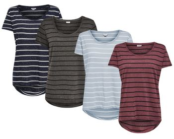 JDY by ONLY Damen T-Shirt jdyCOAST STRIPE TOP Streifen oversize vokuhila