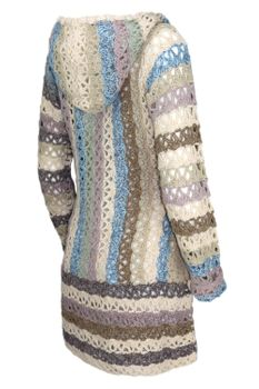 KHUJO Damen Strickjacke LADDY Long-Cardigan Häkel-Jacke Kapuze Boho-Mix – Bild 5