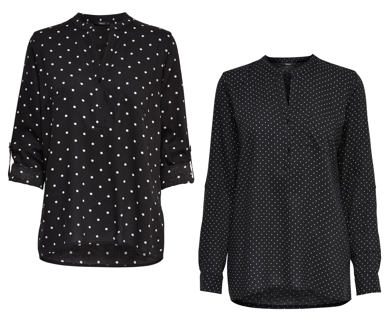 Wunderbar ONLY Damen Bluse Tunika onlAMAZING SHALLOW L S DOT TOP Shirt OV42 ba1a5b3219