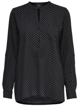 ONLY Damen Bluse Tunika onlAMAZING SHALLOW L/S DOT TOP Shirt Punkte schwarz – Bild 3