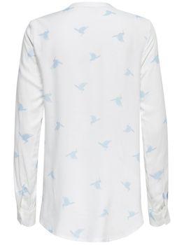 ONLY Damen Bluse Tunika onlAMAZING SHALLOW L/S BIRDS TOP Shirt Kolobri Vögel – Bild 6