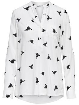 ONLY Damen Bluse Tunika onlAMAZING SHALLOW L/S BIRDS TOP Shirt Kolobri Vögel – Bild 3