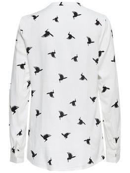 ONLY Damen Bluse Tunika onlAMAZING SHALLOW L/S BIRDS TOP Shirt Kolobri Vögel – Bild 4