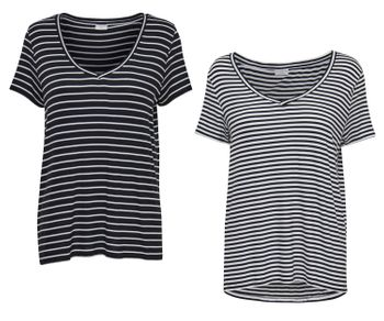 JDY by ONLY Damen Oversize T-Shirt jdySPIRIT S/S STRIPE V-NECK TOP Streifen – Bild 1