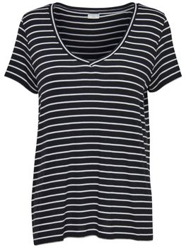 JDY by ONLY Damen Oversize T-Shirt jdySPIRIT S/S STRIPE V-NECK TOP Streifen – Bild 2