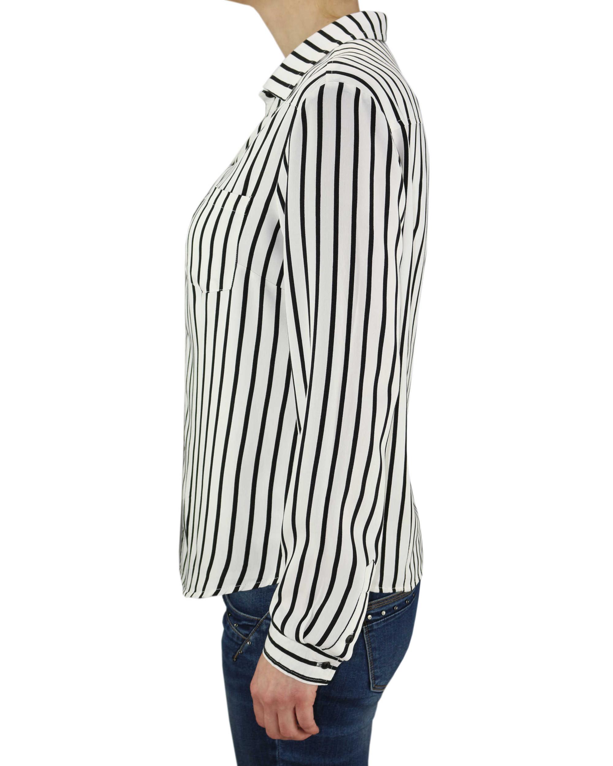 4bd48eef KHUJO Damen Bluse Tunika CONNY Shirt Streifen weiß schwarz langarm – Bild 2