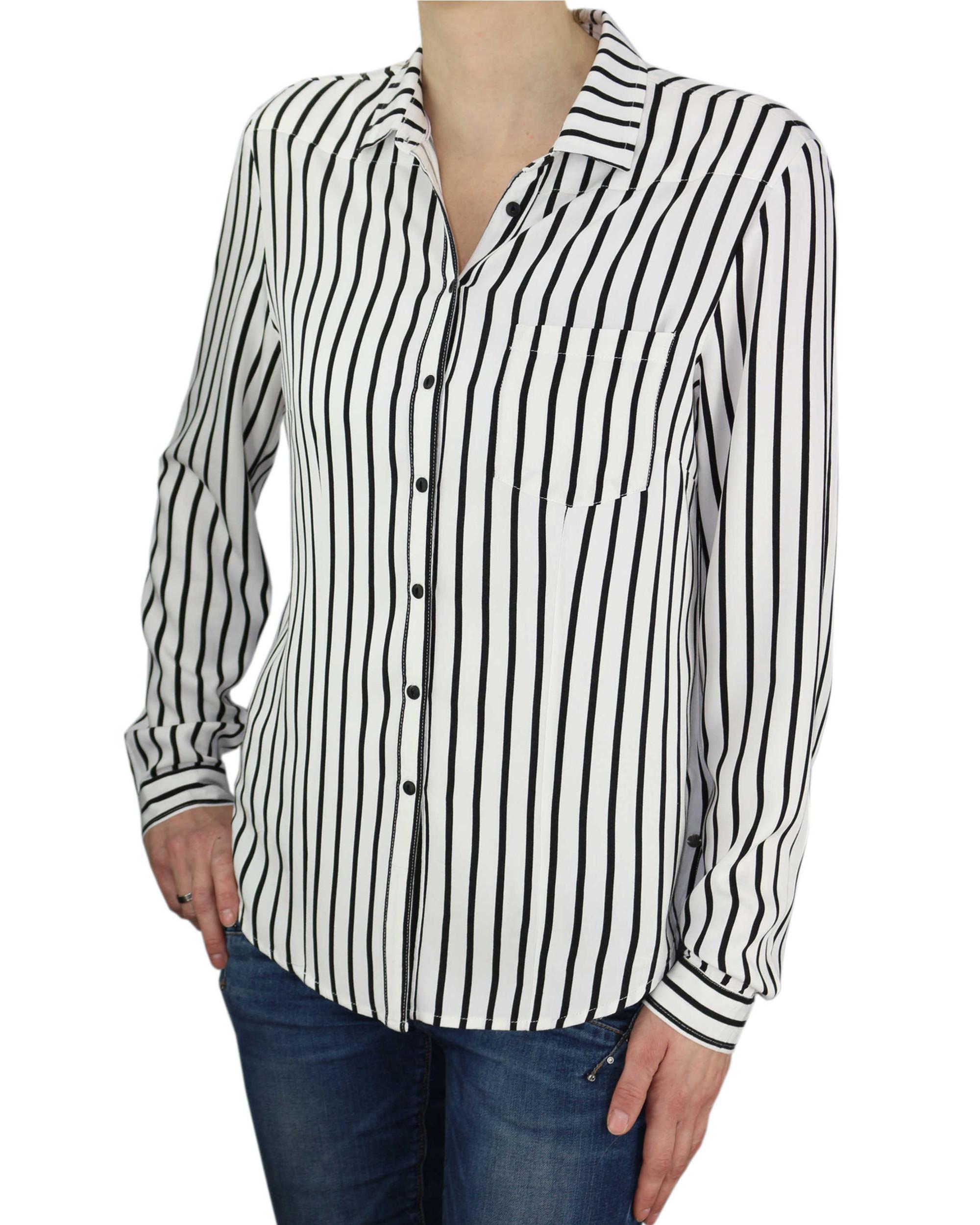 099f45c9 KHUJO Damen Bluse Tunika CONNY Shirt Streifen weiß schwarz langarm ...