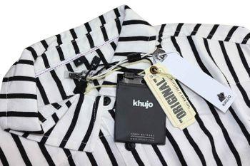 KHUJO Damen Bluse Tunika CONNY Shirt Streifen weiß schwarz langarm – Bild 4