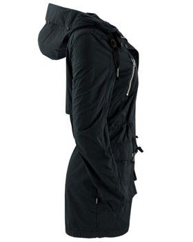 KHUJO Damen Übergangs-Jacke Mantel SAVANNAH Parka Jacket Kapuze Frühling schwarz – Bild 2