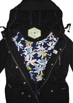KHUJO Damen Übergangs-Jacke Mantel SAVANNAH Parka Jacket Kapuze Frühling schwarz – Bild 4