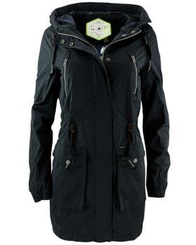 KHUJO Damen Übergangs-Jacke Mantel SAVANNAH Parka Jacket Kapuze Frühling schwarz 001