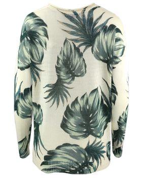 KHUJO Damen Oversize Pullover BIRLA Grobstrick Strick-Long-Pulli Blätter – Bild 3