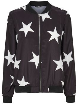 ONLY Damen Blouson Piloten-Jacke onlMEGASTAR BOMBER JACKET Sterne schwarz 001