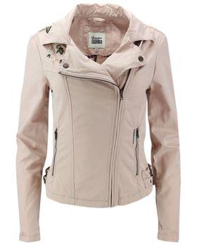 KHUJO Damen Übergangs-Jacke Bikerjacke SOLIDA Jacket Frühling Stickerei rosa – Bild 1