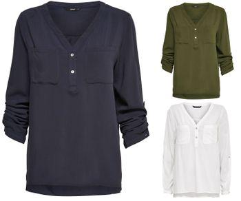 ONLY Damen Bluse Hemd Tunika onlNOVA  L/S SHIRT SOLID VIS  WVN vokuhila – Bild 1