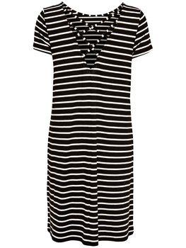 ONLY Damen Sommer Kleid onlBERA BACK LACE UP SS DRESS kurzarm Streifen – Bild 5