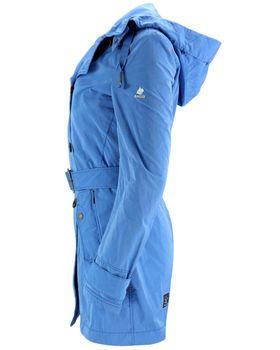 KHUJO Damen Übergangs-Jacke Mantel Trenchcoat PARANA blau türkis Kapuze – Bild 3