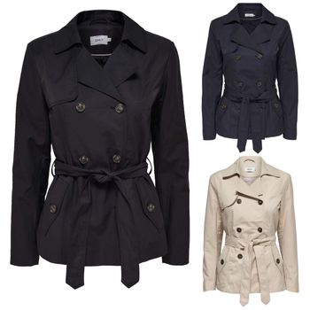 ONLY Damen Übergangs-Jacke Mantel MARIA SHORT TRENCHCOAT