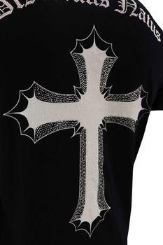 DIS IRATIS NATUS (D.I.N.) Herren T-Shirt Iro Gladiator bling Kreuz double schwarz V-Neck – Bild 6