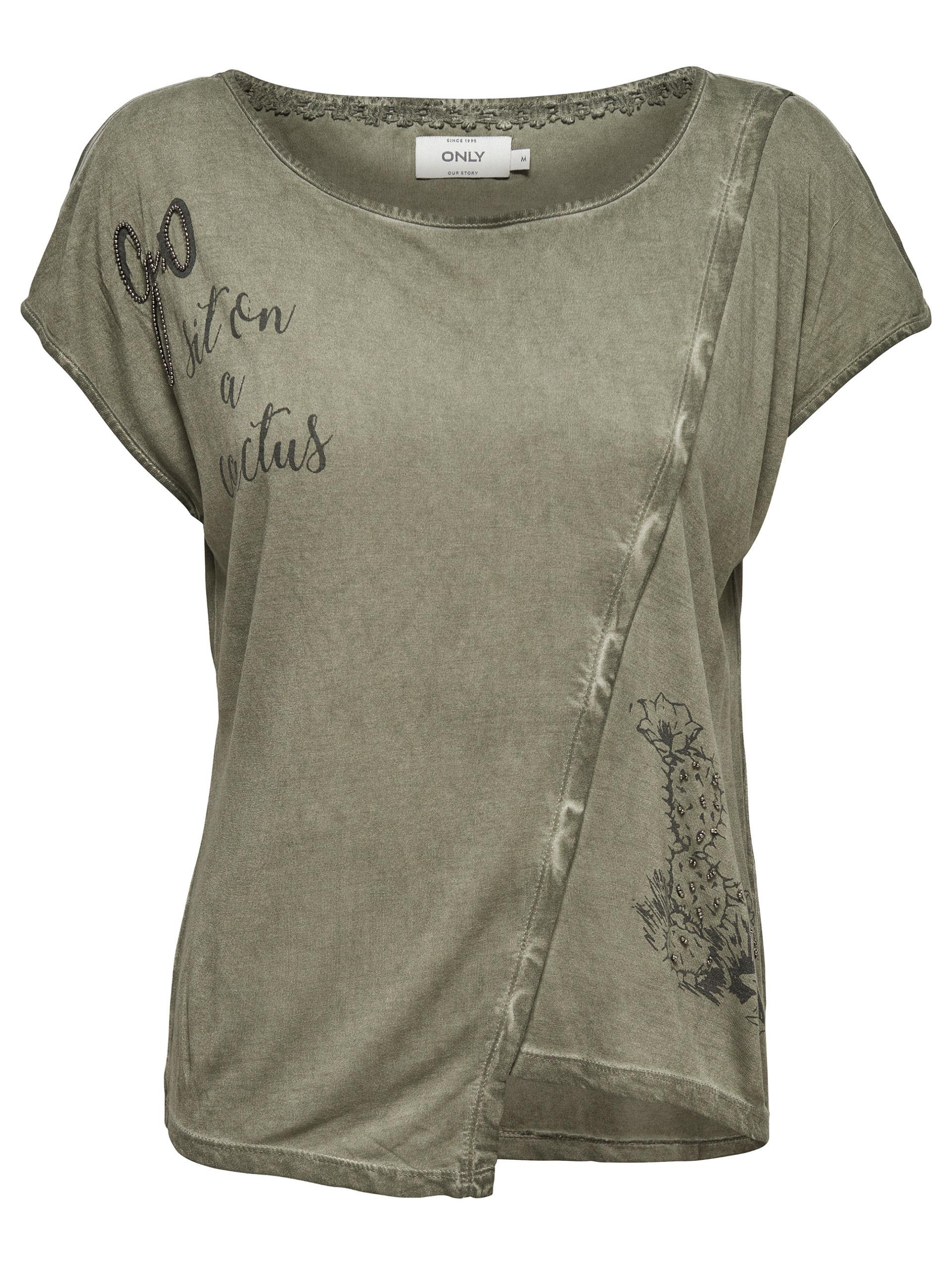 b76ae76a58275d ONLY Damen T-Shirt Top onlLEA S S TOP BOX Oberteil mit Print weiß ...