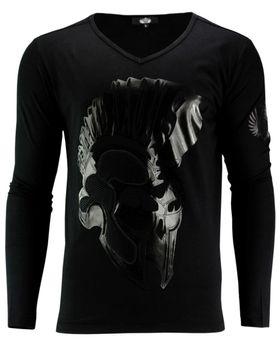 DIS IRATIS NATUS (D.I.N.) Herren Longsleeve Pullover Shirt langarm Gladiator Iro Helm schwarz 001