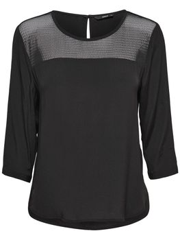 ONLY Damen Bluse Tunika Shirt onlWONDER 3/4 MESH TOP WVN schwarz rot weiß – Bild 2