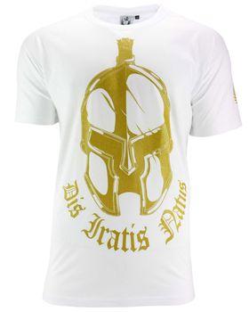 DIS IRATIS NATUS (D.I.N.) Herren T-Shirt Basic Gladiator Helm gold weiß rundhals 001