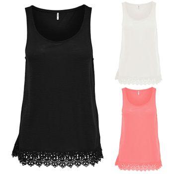 ONLY Damen Bluse Tunika Shirt onlJULIA S/L TOP ESS Spitze Sommertop