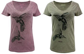 COCCARA Damen T-Shirt Aleshia Vogel Kolibri Pailletten Top grün lila – Bild 1