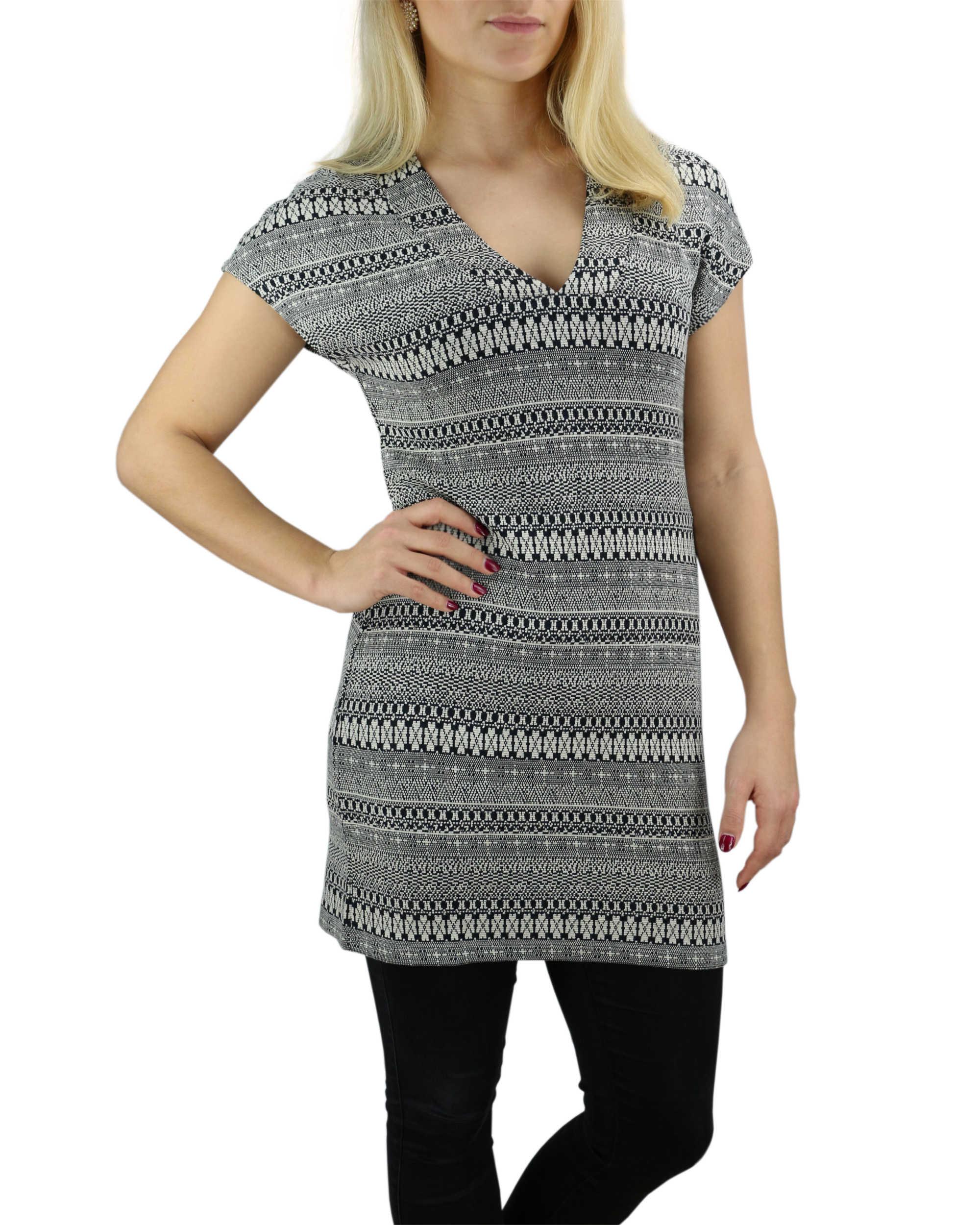 khujo damen kleid adelina jerseykleid sommerkleid schwarz grau ethno muster - Kleid Ethno Muster